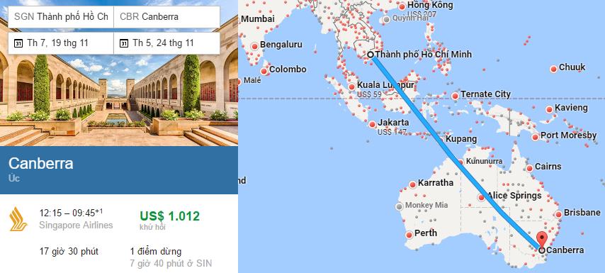 Tham khảo hành trình bay từ Việt nam đến Úc