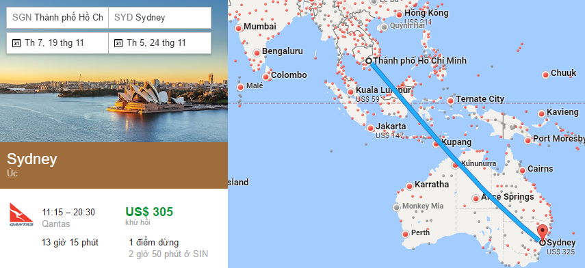 Tham khảo hành trình bay đi Úc từ Việt Nam