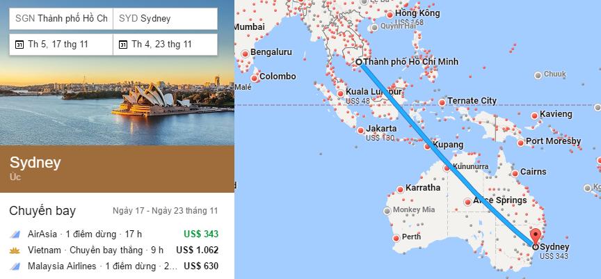 Tham khảo hành trình bay từ TP HCM đến Sydney