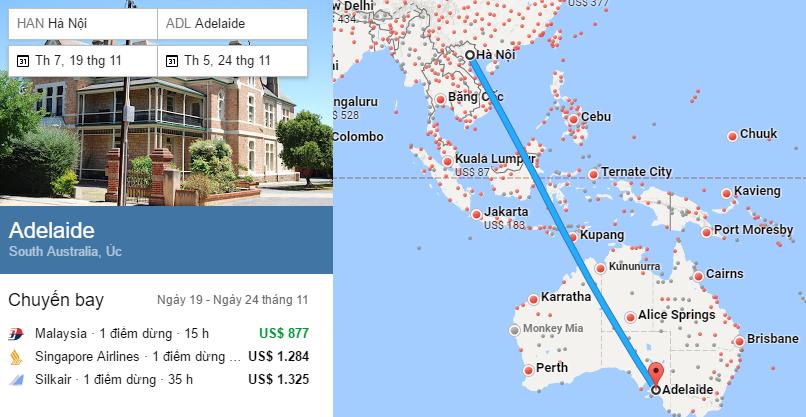 Tham khảo hành trình bay từ Hà Nội đi Adelaide