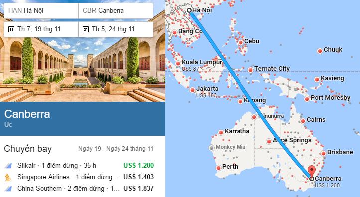 Tham khảo đường bay từ Hà Nội đến Canberra