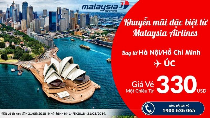 Đặt vé máy bay đi Úc khyến mại hãng Malaysia Airlines